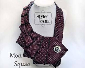 Necktie Necklace, Unique Finds, Statement Necklace, Collar, Women Fashion,Refashioned Clothing,Necktie Scarf, Fall Holiday Accessories
