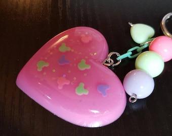 Resin Heart Fairy Kei Pastel Goth Mouse Purse Charm Keychain