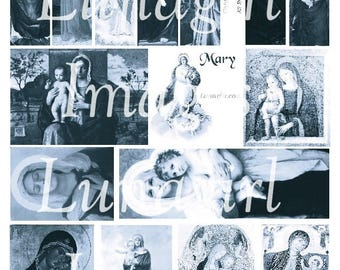 BLUE MARY IMAGES, digital collage sheet, Virgin Mary art, Madonna paintings, Christmas Religious art, holy cards, Vintage printable Download