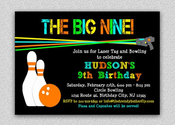 Laser Tag Bowling Invitation Laser Tag Birthday Party