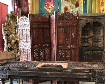 Antique Tribal Carving Haveli Stone Sofa Table Extra Long Wooden Console Rustic Luxury Table Vintage Style