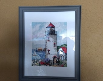 Finished 14 count Cross Stitch Lighthouse Framed