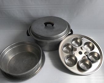 Egg Poacher Double Boiler Aluminum Stock Pot 6 Egg West Bend with Lid