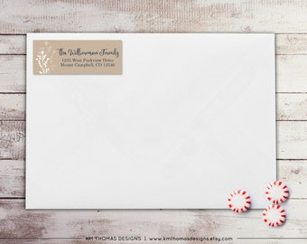 Berry Return Address Label: Personalized Holiday Return Address Label - Sticker - Rectangular Label - Printable Tan Address Label - WH174