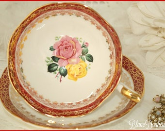 Royal Standard, England: Tea cup & saucer with pink and yellow roses