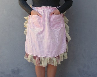 Gingham Apron Pink Roses Hostess Apron - Vintage Fabric with Embroidery