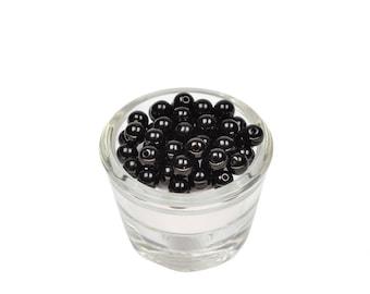 50 PC wood beads 8 mm diameter black plastic