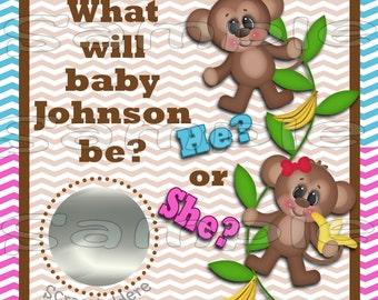 Baby Gender Reveal scratch off cards Pregnancy announcement cards Monkey gender announcement cards baby boy baby girl  12 Precut Printed