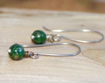 Tiny Green Chalcopyrite Minimalist Dangles Silver, Green Earrings, Sterling Silver or Gold  Earrings, Gemstone Dangle