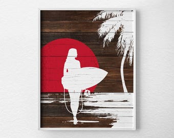 Rustic Surf Art, Surf Decor, Surf Print, Surfer Girl, Beach Print, Beach Art, Summer Print, Beach Sunset Print, Beach Poster, Surfing Poster