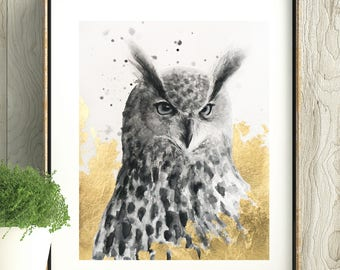 Original Mixed Media Animal Portrait, Watercolor Eagle Owl Painting with Gold Leaf