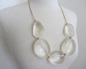 Rock Out Resin Clear Long Statement Necklace