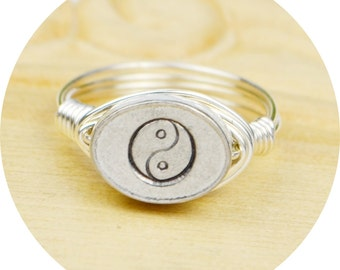 Yin and Yang Ring-Sterling Silver Filled Wire Wrapped Ring with Hand Stamped Pewter Bead- Any Size 4, 5, 6, 7, 8, 9, 10, 11, 12, 13, 14
