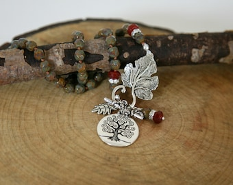 Fern Green and Burgundy Knotted Czech Glass Tree of Life Pendant Dangling Charm Front Closure Necklace