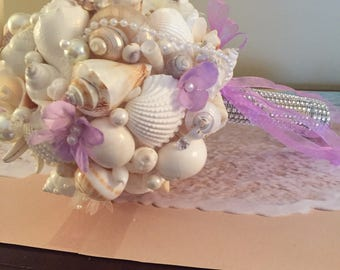 X O bouquets one bride 18 inch sea shell beach wedding