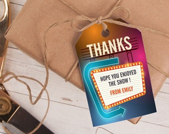 Movie Favor Tag, Movie Thank You Tag, Movie Party Favor INSTANT DOWNLOAD you personalize at home