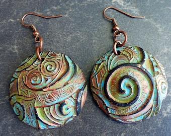 Swirls polymer clay earrings