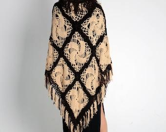 Wool knit beige fashion poncho knitting ivory shrug boho wool hand knit poncho plus size poncho long cowl poncho lace poncho winter sweater