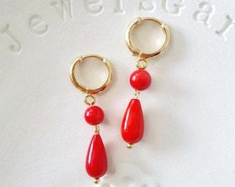 Red coral earrings dangle drop earrings Gold hoop teardrop grandma earrings jewellery Historical jewelry Classical everyday vintage earrings