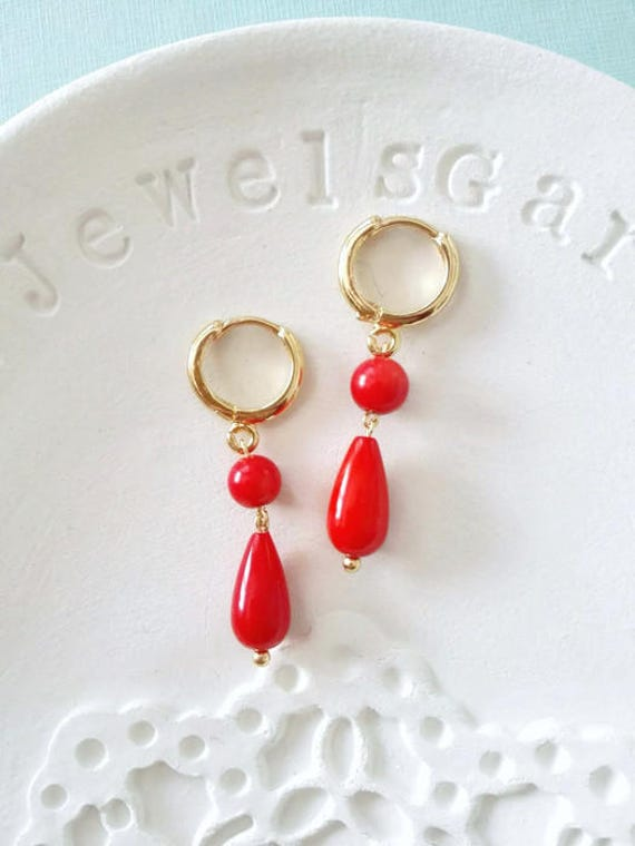 Red coral earrings dangle drop earrings Gold hoop teardrop grandma earrings jewellery Historical jewelry Classical everyday vintage earrings