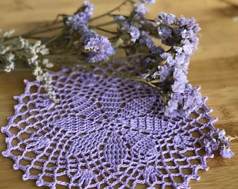 Little doily, Crocheted, Lacy lavender,  Eco-cotton, A gift for her