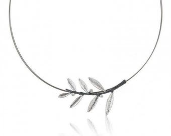 Handmade Sterling Silver Olive Branch Pearl Necklace