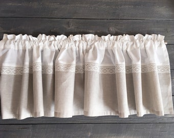 Linen mini cafe curtain gray white