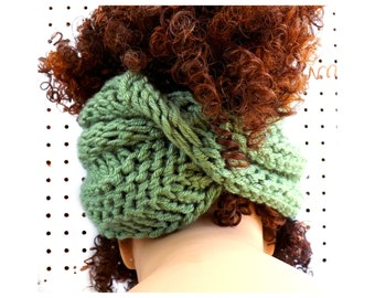 Sage Green Knit Scarf,  Knit Infinity Scarf,  Head Scarf Wrap,  Light Sage Green Scarf,  Boa Crochet Scarf
