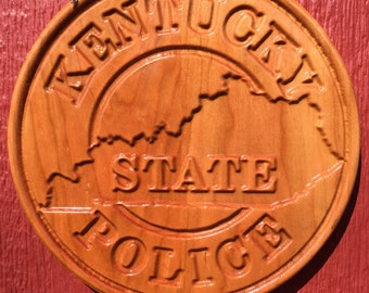 """Kentucky State Police patch logo plaque - 10"""" cherry wood"""