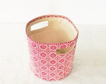 Canvas basket, tile print, dark pink and white, storage basket, fabric bin, sizes available
