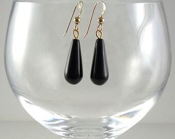 Black Obsidian Earrings Black Gemstone Earrings Black Gemstone Drop Earrings Black Gold Earrings Black Obsidian Drop Earrings Black Drops