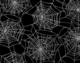 Halloween Fabric - Fright Night Metallic Spider Web Black - Henry Glass YARD