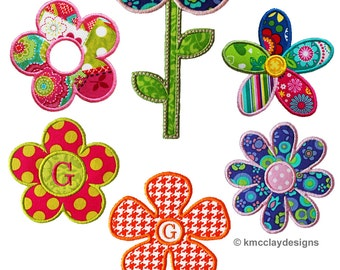 Bunch of Flowers Set with Stem as 2 designs. Machine Embroidery Applique Design. Instant Download. 4x4 and 5x7 from kmcclayapplique