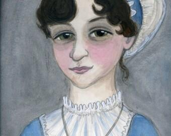 Jane Austen, Literary Art Print, Literary Portrait, Art Print, Writers Illustration (6x8) Regency Decor, Emma Art
