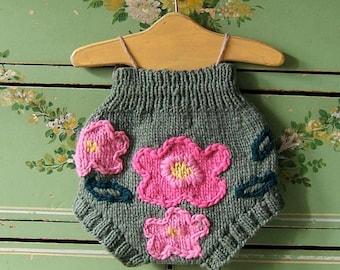 Pink Petunia Hand Knit Wool Soaker