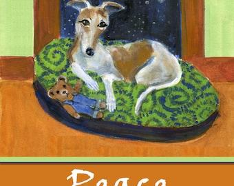 "Greyhound art holiday card, ""Greyhound Peace"", blank inside, print of holiday dog painting"