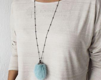 Womens Necklace, Luxury Fur necklace, Zircon Necklace, Blue Fur necklace, 925 Silver Black Tiffany Zircon Necklace,  Gift For Her