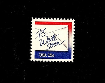 1980 (10) Letter Writing (P.S. Write Soon) - Vintage Unused U.S. Postage Stamps - with original, undisturbed, gum -- Free Shipping