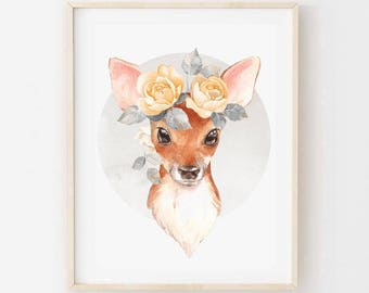 Florence the Fawn - Children's art. Watercolor baby deer with flower crown. A4 Print