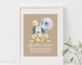Life Is Like A Camera Printable Vintage Camera Print Camera Inspirational Quote Prints Camera Wall Art Floral Camera Quote Positive Quotes