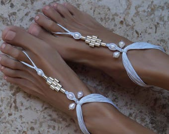 Pearl Beach Wedding Shoes, Beach Wedding Barefoot Sandals, Bridal Sandals, Boho Anklets, 1 Pair