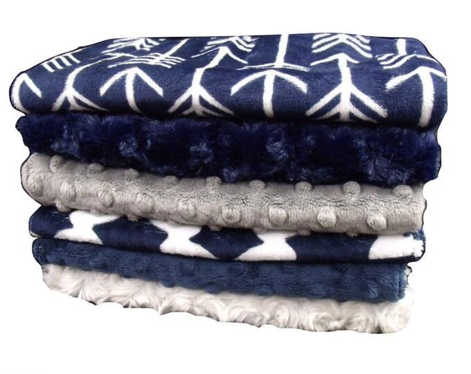 Navy and Gray Arrow print Baby Burp Cloths, Navy Blue Baby Burp Rags, Burping Accessories
