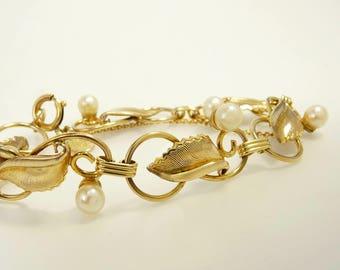 Vintage Gold Filled Cultured Pearl Bracelet Curtis Creations 1950s