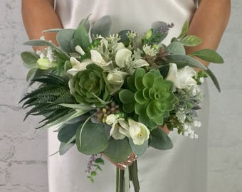 Wedding Bouquet, Bridal Bouquet, Succulent Bouquet, Greenery Bouquet, Artificial Bouquet, Silk Bouquet, Corsage, Boutonierre