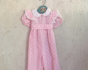 Vintage Baby Girl Clothes 80s Pink & White Polka Dot Pinafore Bubble Romper Jumpsuit Size 2T