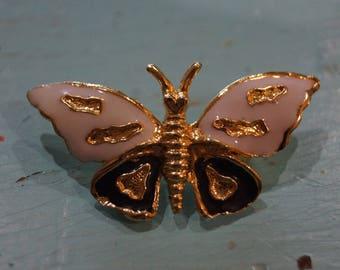 Vintage Gold Butterfly Brooch-White & Black Enamel