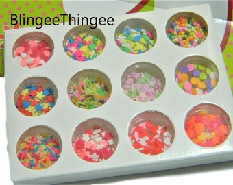 BOX SET 12 Different Fake Sprinkles Sampler Assortment Package Stars Hearts Confetti Diy Slime Fillers Decoden Craft Projects