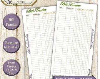 Traveler's notebook inserts Fauxdori Dori refill the Midori  budget. Bill planner - monthly bill organizer. Regular size