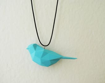 Blue Bird - 3D printed Polygonal Pendant