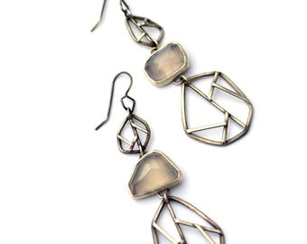 Mismatched Earrings, Sterling Silver, Chalcedony, Long Geometric Earrings, Asymmetric Earrings, Oxidized Silver Gemstone Statement Earrings